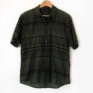 ManaOla Shirts - ManaOla Black and Green Button Down Aloha Shirt